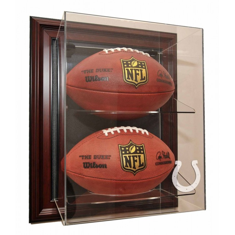 "Indianapolis Colts 2 Football ""Case-Up"" Display, Mahogany"