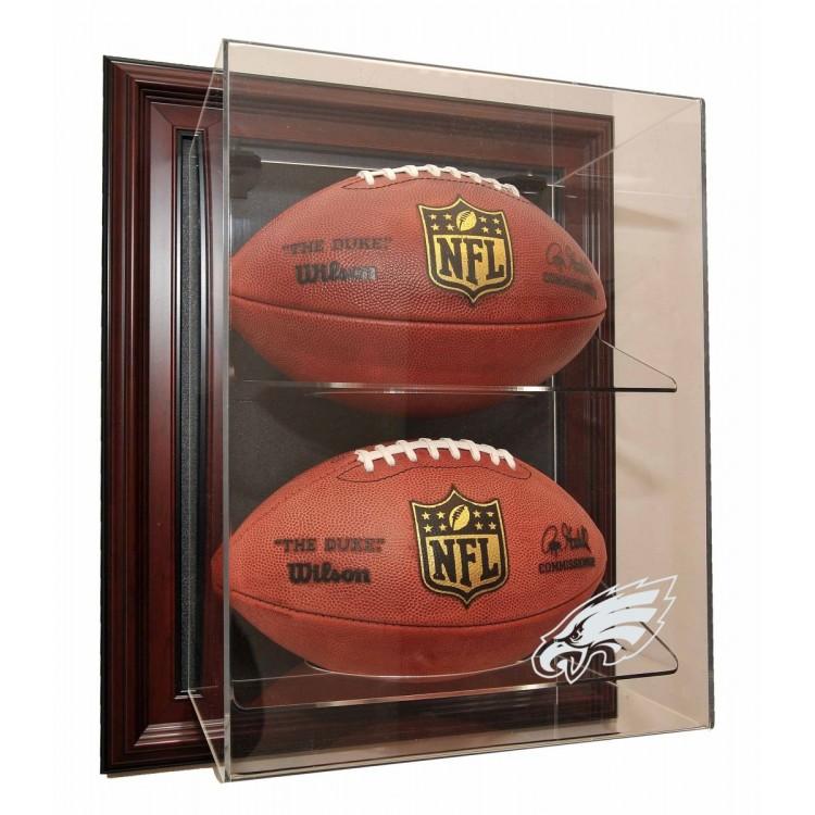 """Philadelphia Eagles 2 Football """"Case-Up"""" Display, Mahogany"""