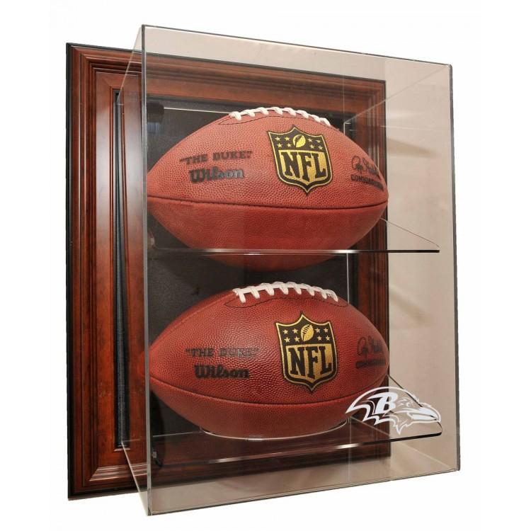 """Baltimore Ravens 2 Football """"Case-Up"""" Display, Brown"""