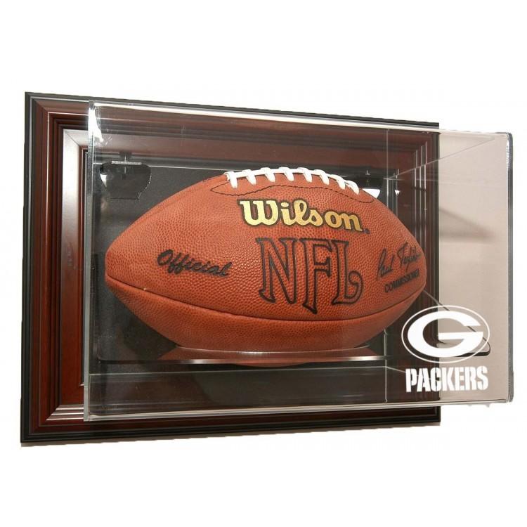 """Green Bay Packers Football """"Case-Up"""" Display - Mahogany"""
