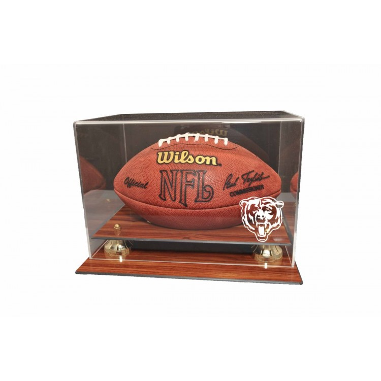 Chicago Bears Wood Finished Acrylic with Gold Risers Football Display
