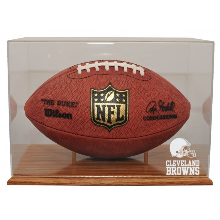 Cleveland Browns Oak Finished Base Football Display