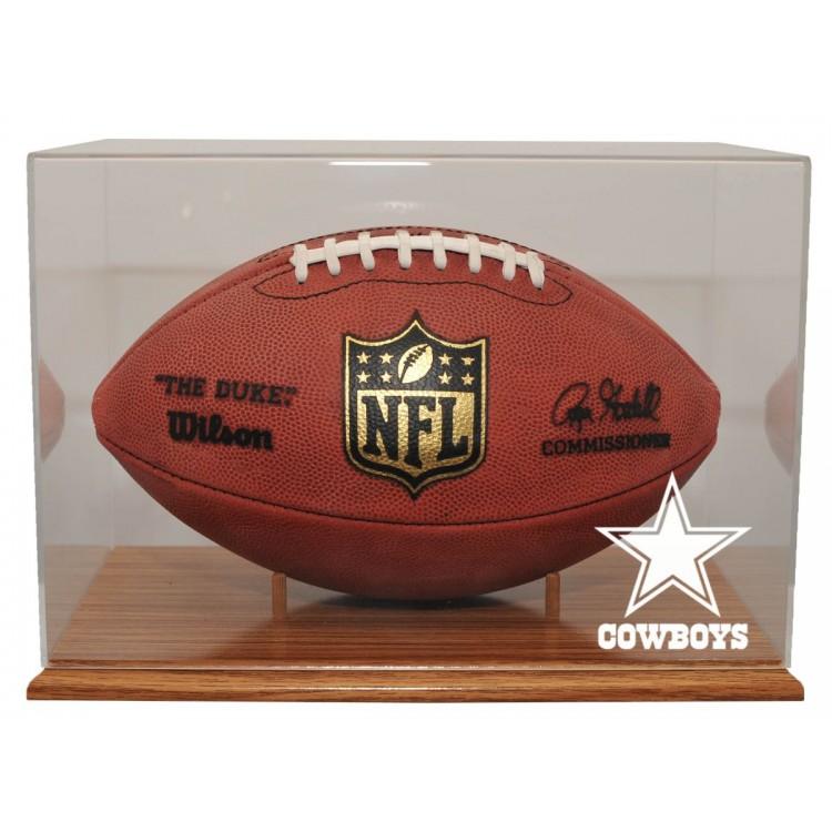 Dallas Cowboys Oak Finished Base Football Display