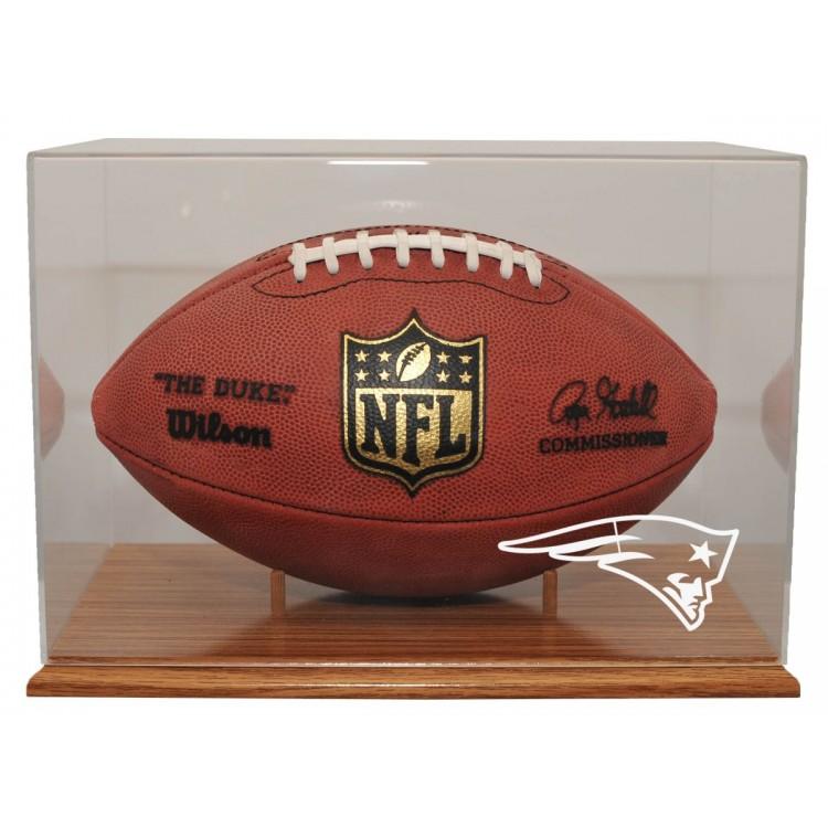 New England Patriots Oak Finished Base Football Display
