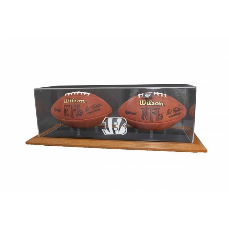 Cincinnati Bengals Natural Color Framed Base Double Football Display