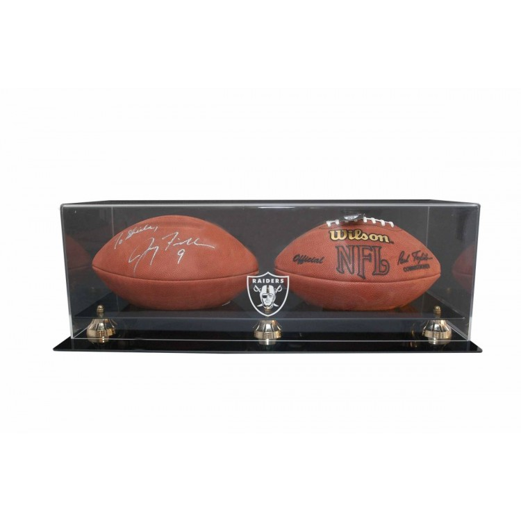 Oakland Raiders Double Football Display with Gold Risers