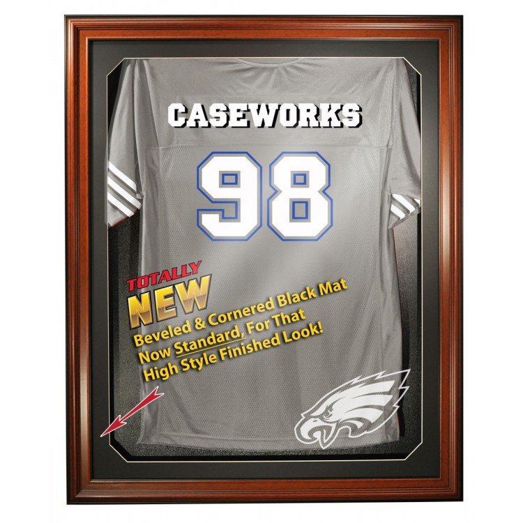 Philadelphia Eagles Cabinet Style Jersey Display - Brown