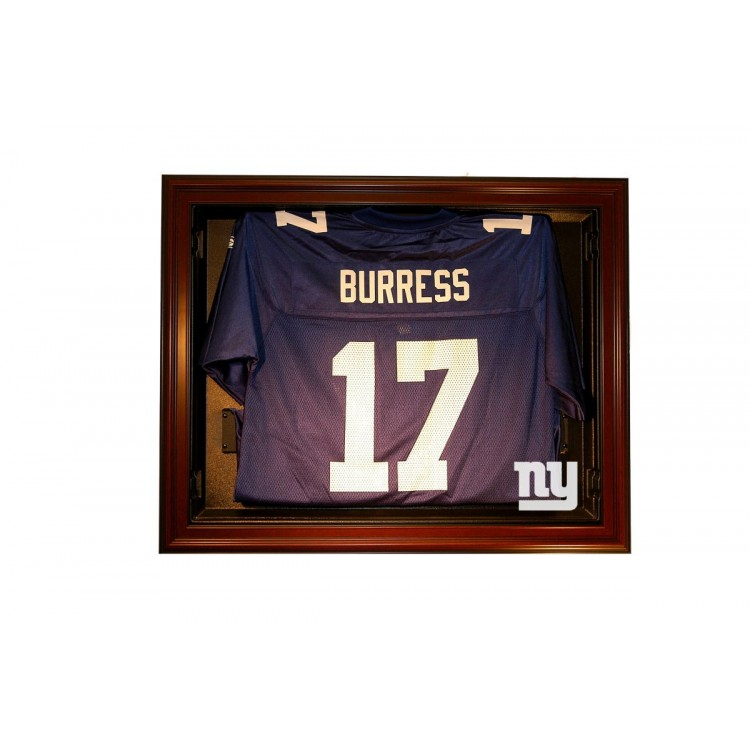 New York Giants E-Z Removable Face 3/4 View Jersey Display, Mahogany