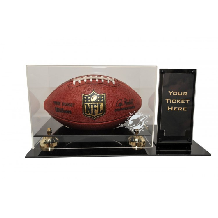 """Miami Dolphins Deluxe Football Display with Ticket Holder (Up to 2 5/8"""" X 7 1/8"""" Ticket)"""