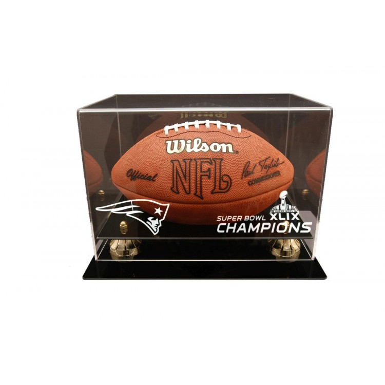 New England Patriots Super Bowl 49 Champions Deluxe Football Display Case