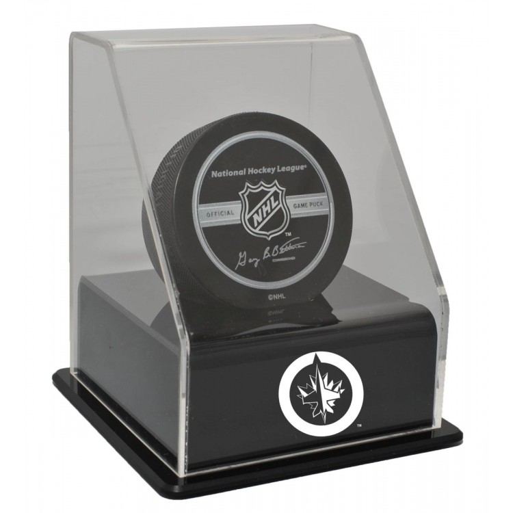 Winnipeg Jets Single Hockey Puck Display Case with Angled Base