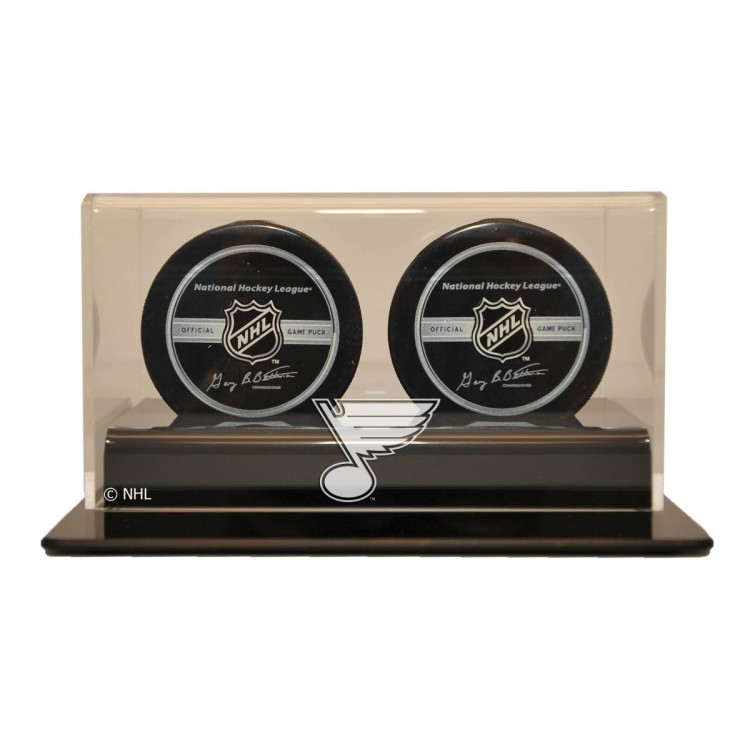 St. Louis Blues Double Hockey Puck Display