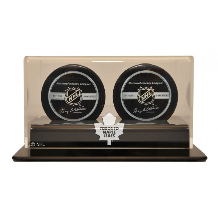 Toronto Maple Leafs Double Hockey Puck Display
