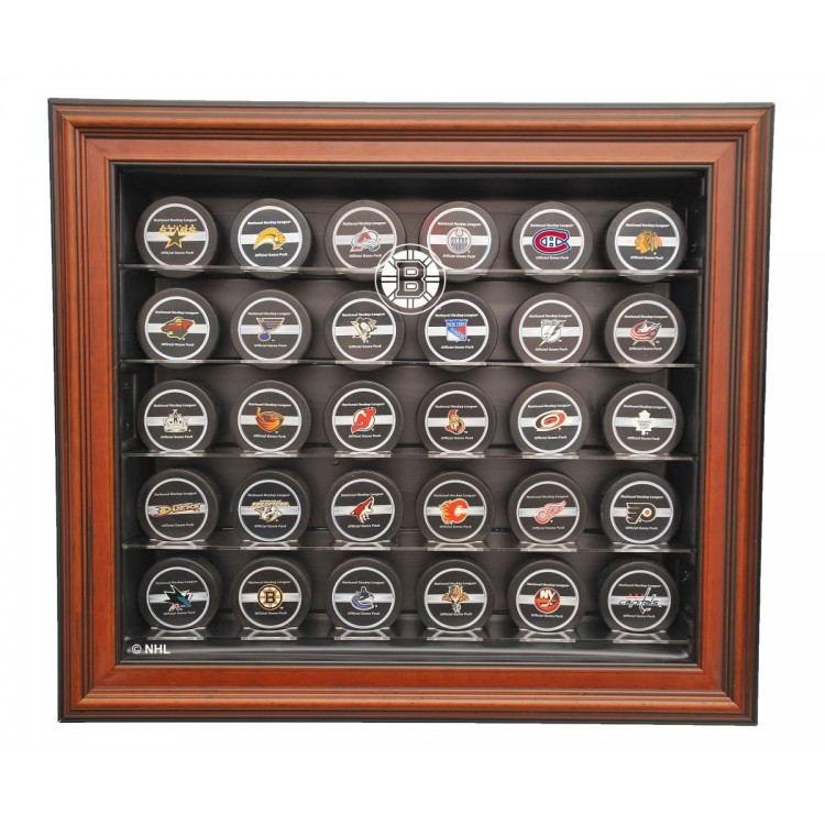 Boston Bruins 30 Puck Cabinet Style Display Case, Brown