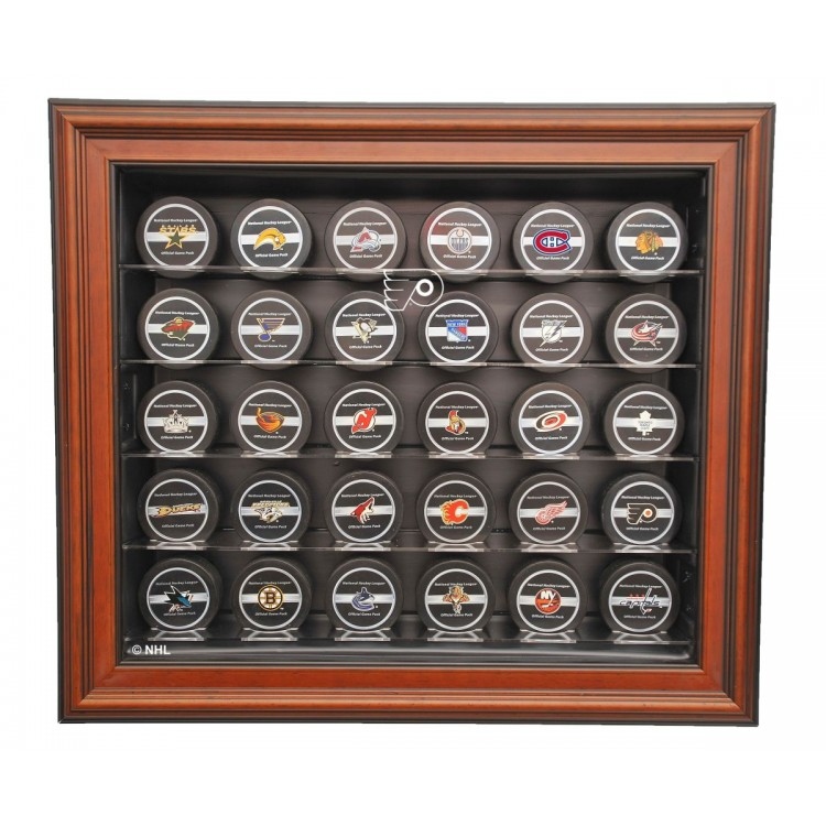 Philadelphia Flyers 30 Puck Cabinet Style Display Case, Brown
