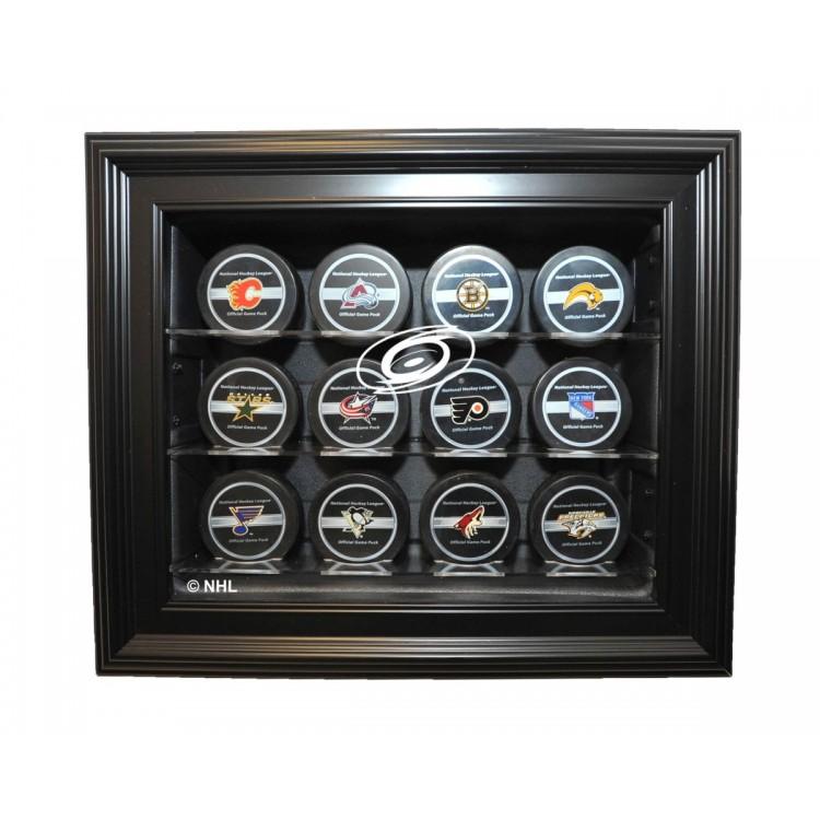 Carolina Hurricanes 12 Puck Cabinet Style Display,Black