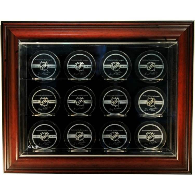 "12 Puck ""Case-Up"" Display Case, Mahogany"