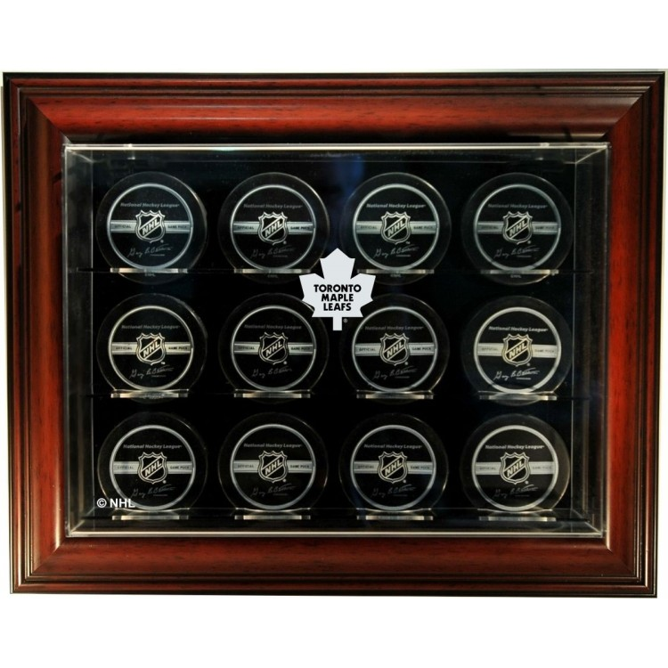 "Toronto Maple Leafs 12 Puck ""Case-Up"" Display Case, Mahogany"