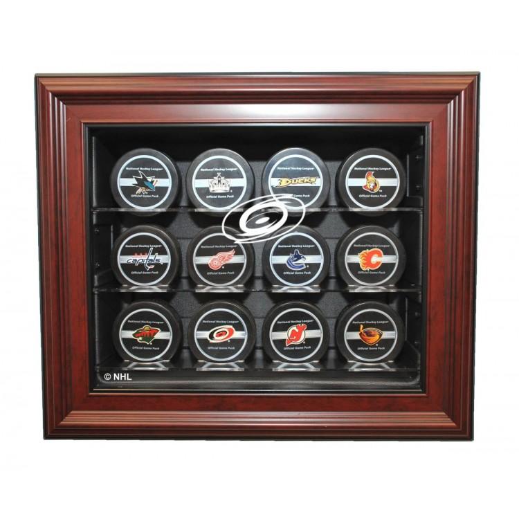 Carolina Hurricanes 12 Puck Cabinet Style Display, Mahogany