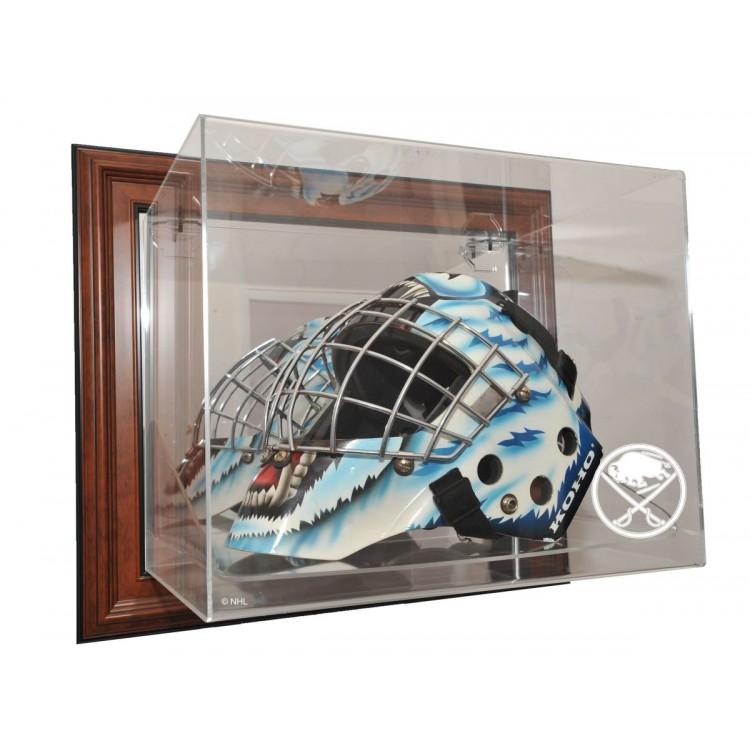 Buffalo Sabres Goalie Mask Case Up Display, Brown