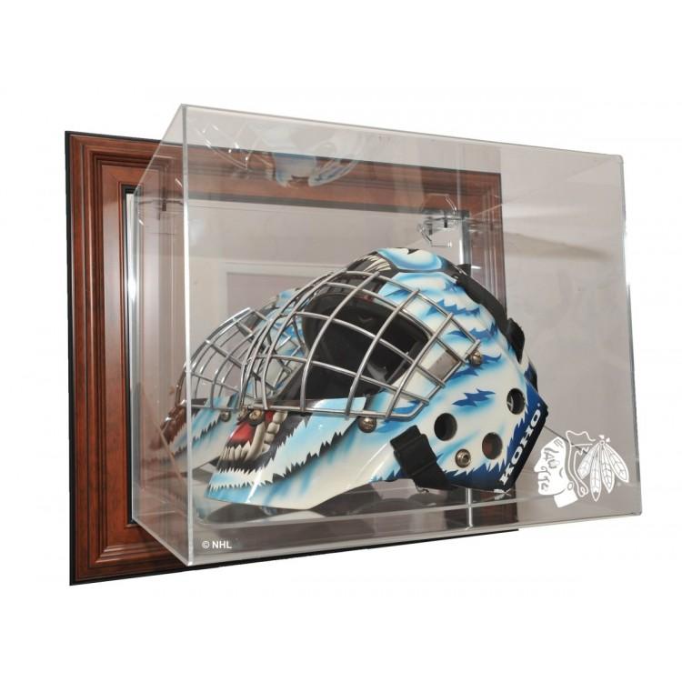 Chicago Blackhawks Goalie Mask Case Up Display, Brown