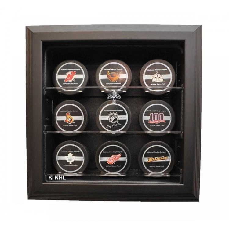 Florida Panthers 9 Puck Cabinet Style Display, Black