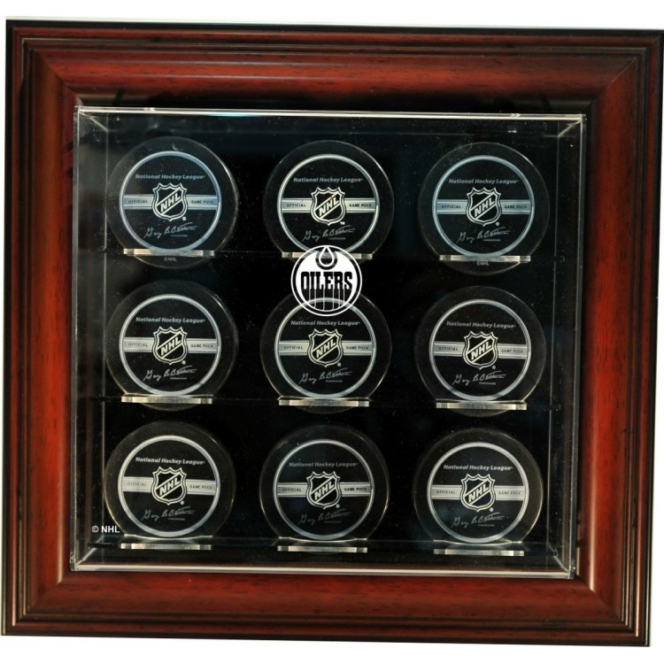 "Edmonton Oilers 9 Hockey Puck ""Case-Up"" Display, Mahogany"