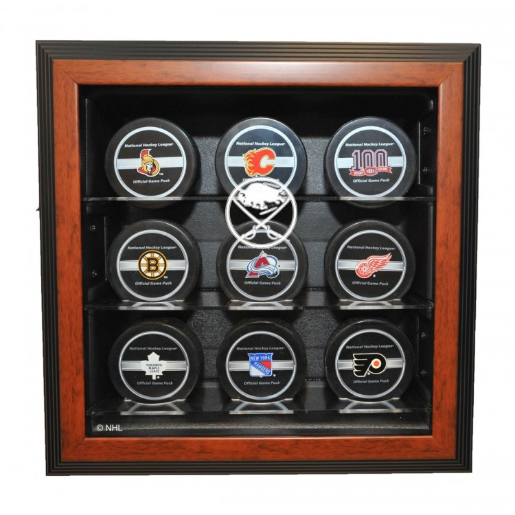 Buffalo Sabres 9 Puck Cabinet Style Display, Brown