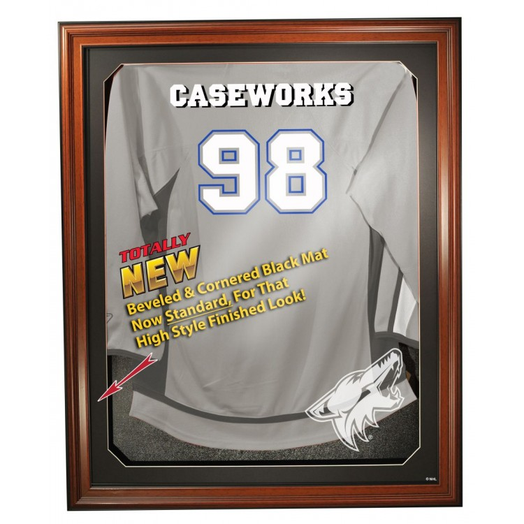 Arizona Coyotes Cabinet Style Jersey Display, Brown