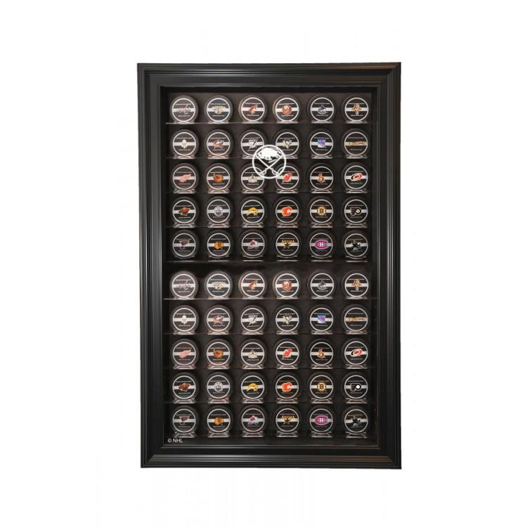 Buffalo Sabres 60 Puck Cabinet Style Display, Black