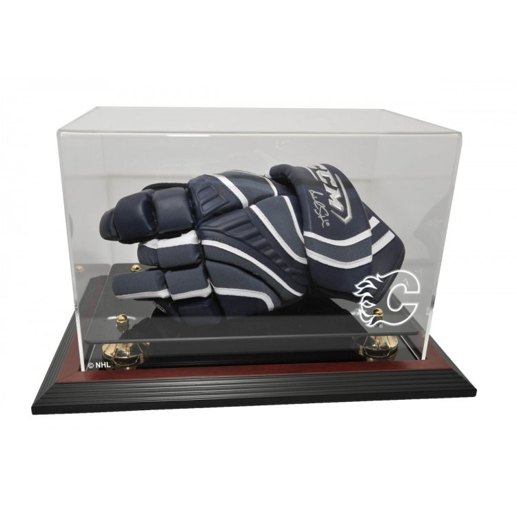 Calgary Flames Hockey Glove Display, Mahogany