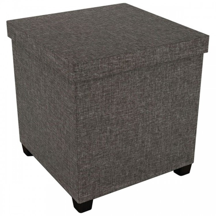 """ATLANTIC 67336104 17"""" x 17"""" Ottoman with Wooden Feet (Brown)"""