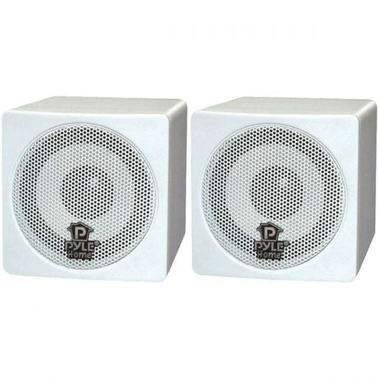 """PYLE HOME PCB3WT 3"""", 100-Watt Mini-Cube Bookshelf Speakers (White)"""