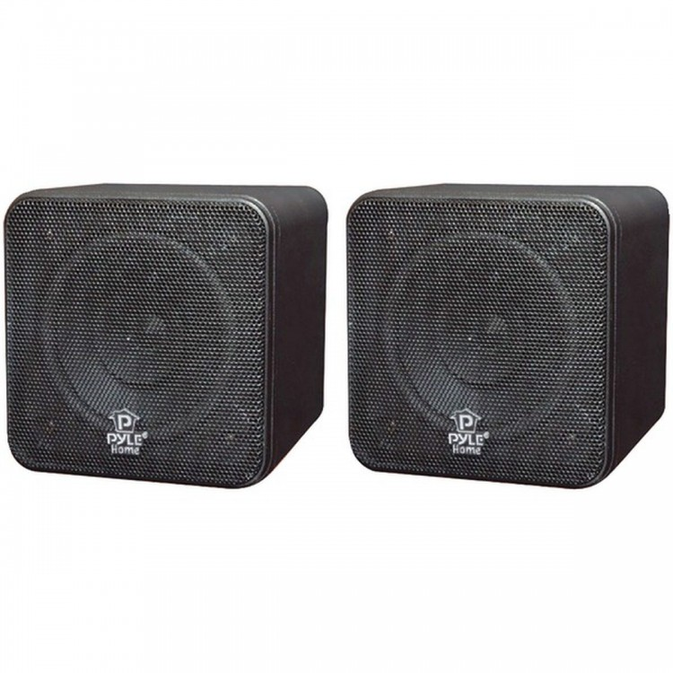 "PYLE HOME PCB4BK 4"", 200-Watt Mini-Cube Bookshelf Speakers (Black)"