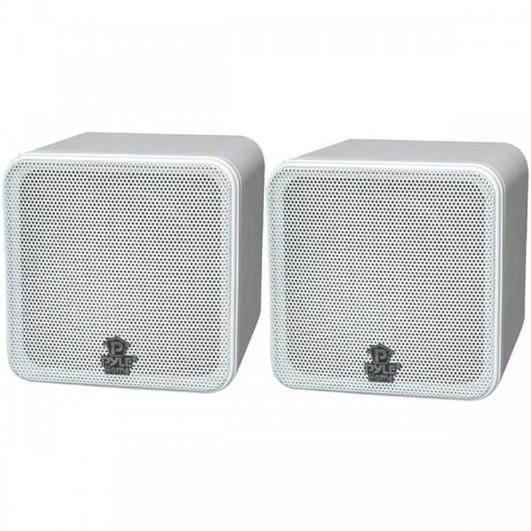 """PYLE HOME PCB4WT 4"""", 200-Watt Mini-Cube Bookshelf Speakers (White)"""