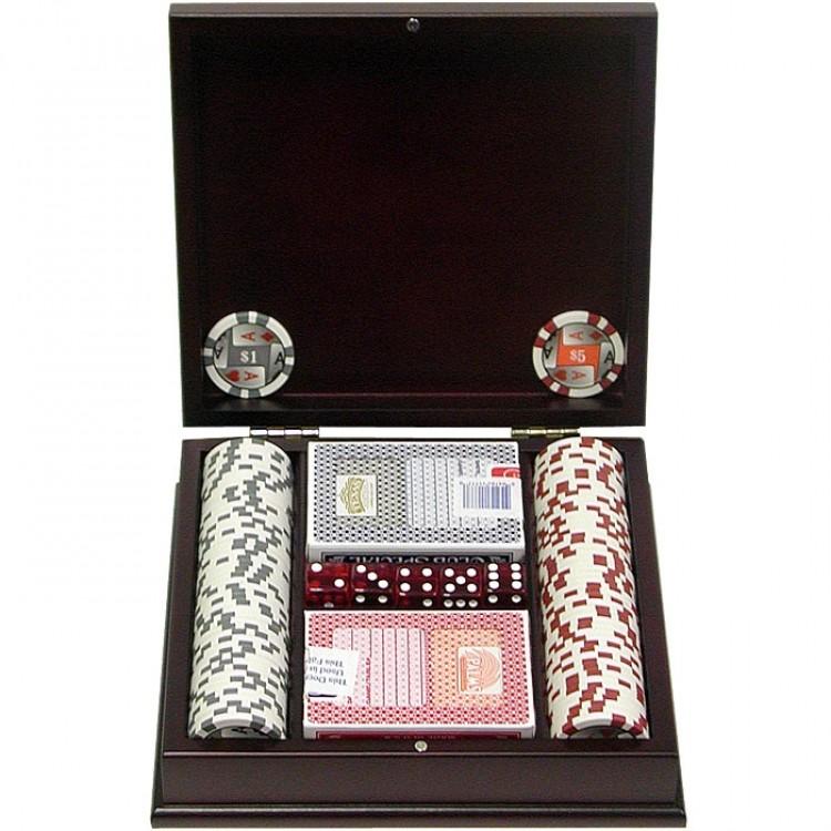 100 11.5g 4 Aces Poker Chip Set w/Beautiful Mahogany Case