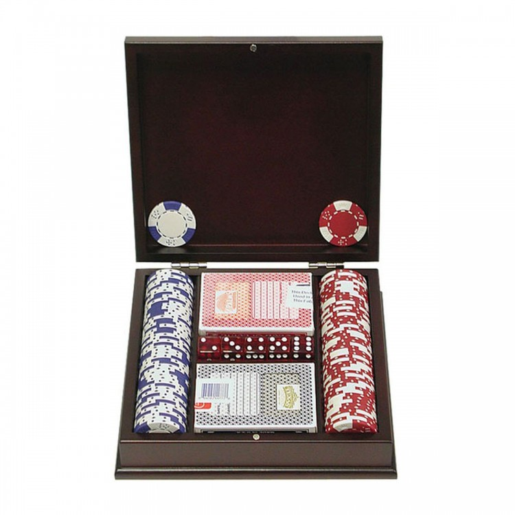 100 pc LUCKY CROWN 11.5g Poker Chip Set w/Mahogany Case