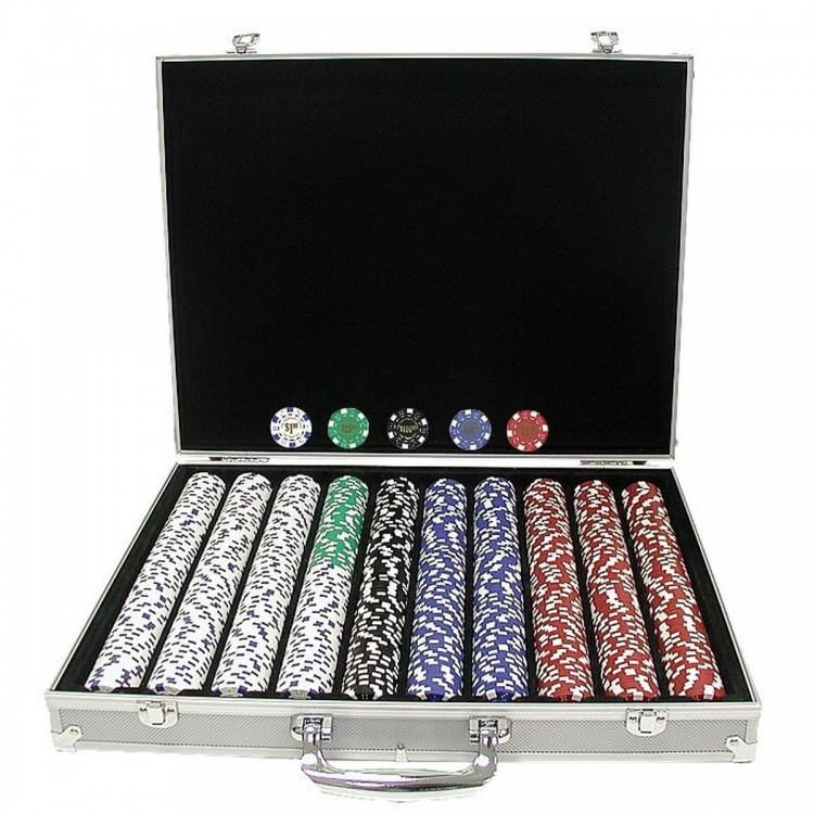 1,000 Landmark Casino 11.5 Gram Poker Chips w/ in ALUM Case