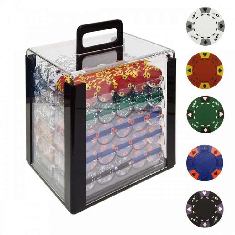 1000 14g Tri Color Ace/King Clay Poker Chips w/Acrylic Case