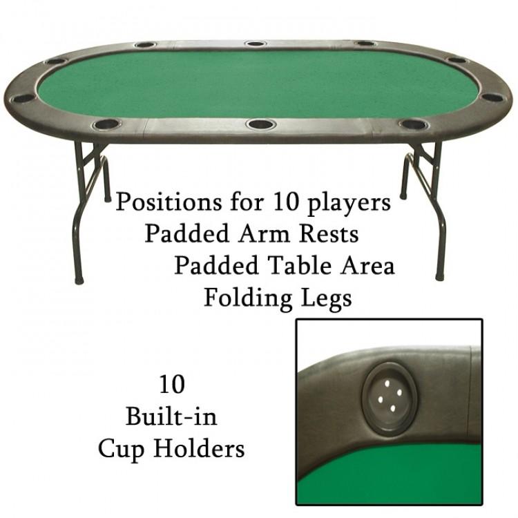 10 Full Size Texas Holdem Green Felt Poker Tables 83 x 44