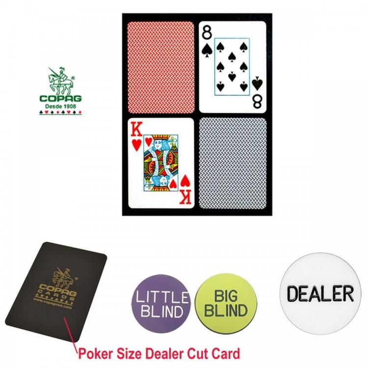 Copag Poker Size PLASTIC Playing Cards & Dealer Kit