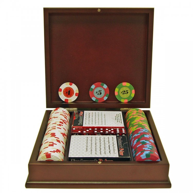 100 Paulson Tophat & Cane Clay Poker Chips w/ Wooden Case