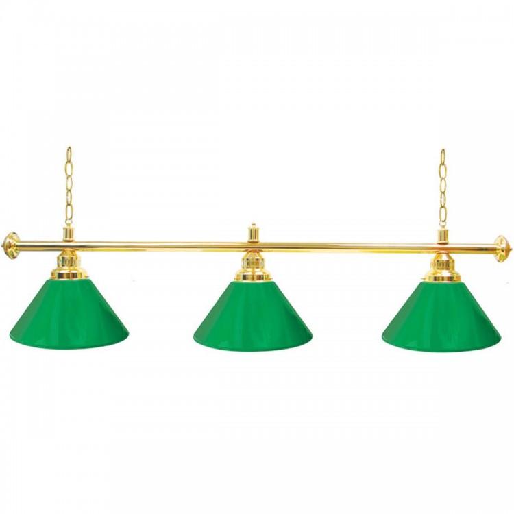 Premium 60 Inch 3 Shade Billiard Lamp Green and Gold
