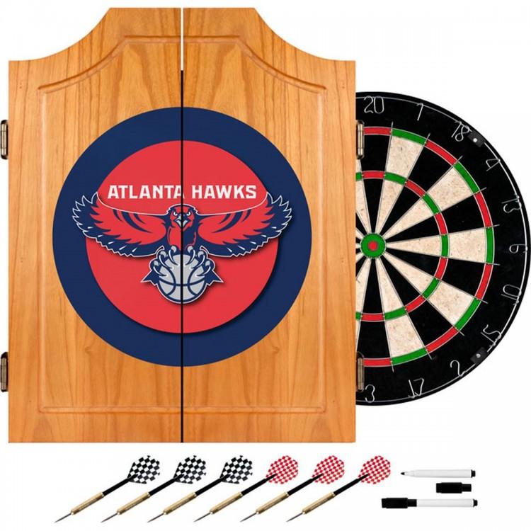 Atlanta Hawks NBA Wood Dart Cabinet Set