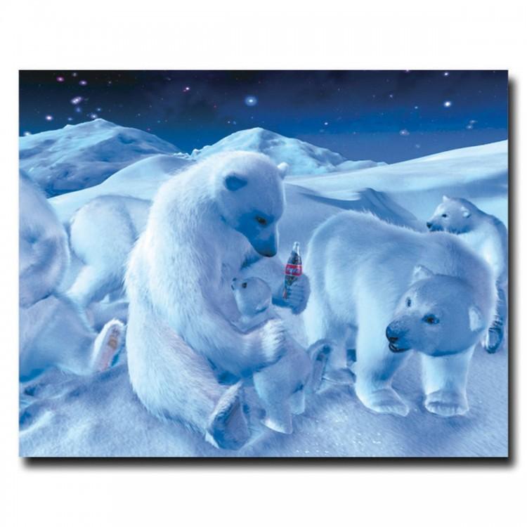 Coke Polar Bear Sitting w/ Cub and Bottle - 19 x 24 Inches