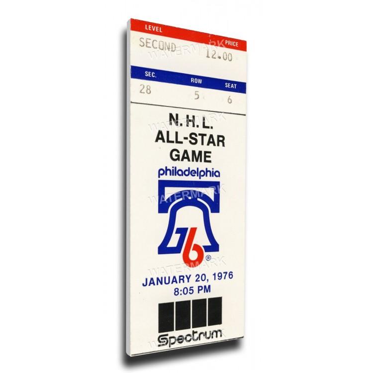 1976 NHL All-Star Game Canvas Mega Ticket, Flyers Host - MVP Mahovlich