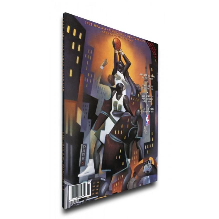 1998 NBA All-Star Game Program Cover on Canvas, Knicks Host, MVP Jordan, Bulls