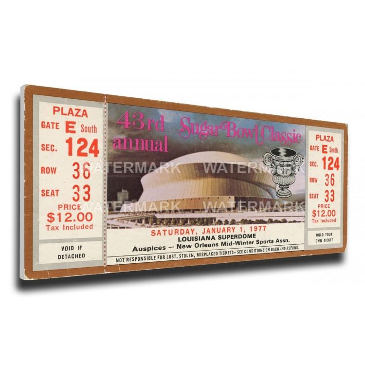 1977 Sugar Bowl Canvas Mega Ticket - Pittsburgh Panthers